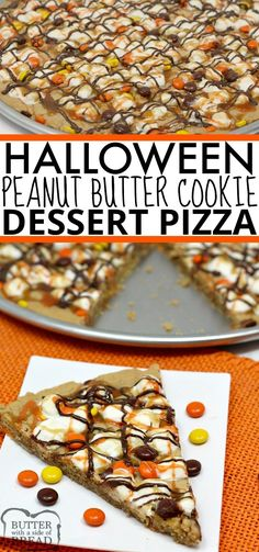 Halloween Peanut Butter Cookie Pizza is made with a delicious peanut butter cookie crust that is topped with marshmallows and Reese's Pieces and then drizzled with chocolate, caramel and orange icing! The perfect Halloween dessert! Cookie Pizza, Cookie Crust, Halloween Desserts, Halloween Recipe, Halloween Halloween, Halloween Cookies, Halloween Chocolate, Halloween Treats, Oreo Dessert