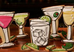 Happy Hour Martini, Champagne, and Cosmo Drinks Iced Decorated Sugar Cookies