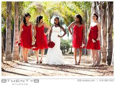 Cute photo idea w/my girls Diff Style dresses Bridesmaid Dresses Uk, Red Bridesmaids, Wedding Dresses, Red Wedding, Wedding Day, Wedding Stuff, Wedding Flowers, Cherry Dress, Yes To The Dress