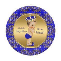 Plato De Papel Muchacho del Brunette de príncipe Crown Baby