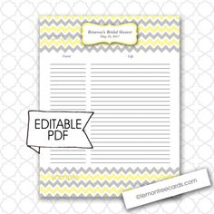 Editable Baby or Bridal Shower Gift List  Can also be used as a guest list or an address list.  Save and buy one file and DIY!