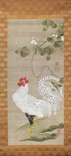 White Rooster. Japanese Hanging Scroll. Itō Jakuchū. 1740/1800. Philbrook Museum of Art, Tulsa, Oklahoma.