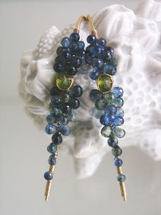 Blue Sapphire Gold Filled Stem Earrings with just a little shot of olivine vesuvianite.  Lightweight, wire wrapped and handmade in the USA  Bellajewels