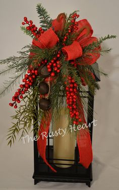 Christmas Lantern Swag with Red Burlap Ribbon by TheRustyHeart