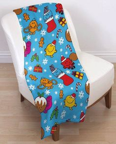 MR MEN AND LITTLE MISS NUMBERS FLEECE BLANKET WARM THROW KIDS CHILDRENS BEDDING