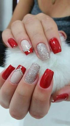 37 Shinning and Beautiful Christmas Nails You Have to See nails, nail design, Ch. - Nail Art Design : 37 Shinning and Beautiful Christmas Nails You Have to See nails, nail design, Ch. Xmas Nails, Holiday Nails, Red Nails, Christmas Nails, Valentine Nails, Bling Nails, Acrylic Nail Designs, Nail Art Designs, Nails Design