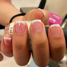 faded french nails Almond - Care - Skin care , beauty ideas and skin care tips Fancy Nails, Pretty Nails, White Tip Nails, White Summer Nails, Ten Nails, Dipped Nails, Cute Acrylic Nails, Powder Nails, Natural Nails