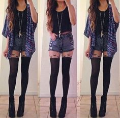 Cut-off shorts and knee-high socks? I think so! Pull off this look with you favorite combat boot or pair of Doc Martens.