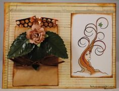 """Card for Queen Kat Designs using their """"Laughter Broke Her Silence"""" stamp by Nora Blansett."""