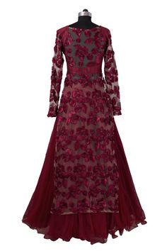 Rumena Special: Burgundy floral lehenga #indianfashion #saree #anarkali…