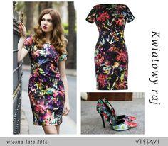 98% bawełny - sukienka BELLINI - z wiosennym nadrukiem - kolekcja VISSAVI  SS'16