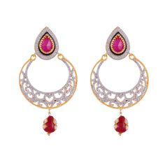 Red ruby diamond classic party look earring