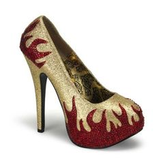 Teeze 27 Gold Glitter 5 3/4 Inch Stiletto Heeled Platform Court Shoes with Red Rhinestone Flames