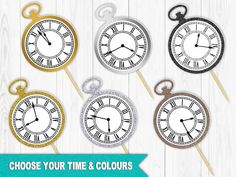 These Pocket Watch Toppers are a classy and easy way to add some sparkle to your event! Use these picks in appetizers, snacks, cheese/fruit, cupcakes, or any food item. Choose the time displayed: Assorted, Midnight, Almost Midnight, or one Custom Time. Available in 7 glitter or metallic colours: Gold, Silver, Rose Gold, Bronze/Brown, and Black. Prefer a different colour, size, or shape? Click on Request a Custom Order and well be happy to help! ***Please leave a Note to Buyer at che...