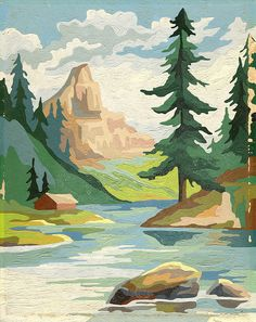 mountain scene: paint by number- I want to do a paint by number if they can look like this!!