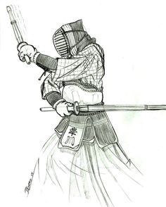 Artists conception of the Nito (two sword) Kendo technique employed by Etsuko.