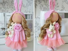 Handmade doll Tilda doll Interior doll Art doll blonde pink colors soft doll Cloth doll Fabric doll Love doll by Master Tanya Evteeva