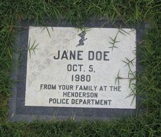 Jane Doe grave at Palm Memorial Park, Henderson, Clark Co, Nevada.  The victim was located on October 15, 1980, Her fingerprints matched no one in the missing person system at the time. victim was murdered elsewhere, her body dumped at the site. Multiple head wounds. Her case is still unsolved.