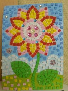 Paper Mosaic, Mosaic Tile Art, Mosaic Pots, Mosaic Artwork, Mosaic Crafts, Paper Crafts For Kids, Easy Crafts For Kids, Art For Kids, Arts And Crafts