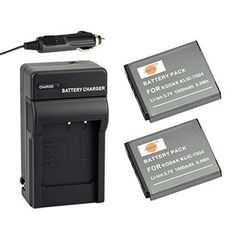 DSTEآ® 2x KLIC-7004 Battery + DC30 Travel and Car Charger Adapter for Kodak EasyShare M2008 V1273 V1233 V1253 Zi8 Zi12 PlayFull Dual PlaySport PlayTouch Pentax Q7 Q10 Q-S1 Ricoh WG-M2 Camera as NP-50 D-li68