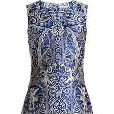 Mary Katrantzou Dino sleeveless Cards-jacquard top (14.534.515 IDR) ❤ liked on Polyvore featuring tops, blue, sleeveless top, silver multi, embellished sleeveless tops, special occasion tops, peplum tops, no sleeve tops and jacquard peplum top