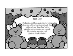 Letter to have students bring in their favorite bear for a fun bear day picnic!...