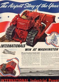 Original vintage magazine ad for International Harvester Diesel TracTracTors. Tagline or sample ad copy: The Airport Story of the Year Publication Year: 1940 Approximate Ad Size (in inches): 10 x Condition: VG Big Tractors, Farmall Tractors, International Tractors, International Harvester, Old Farm Equipment, Heavy Equipment, Mining Equipment, Vintage Advertisements, Vintage Ads