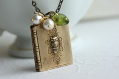 Locket Necklace Owl Book Locket Necklace Secret by madebymoe, $32.00
