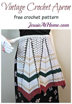 Christmas in July CAL – Vintage Crochet Apron Vintage Crochet Patterns, Easy Crochet Patterns, Crochet Designs, Knitting Patterns, Crochet Ideas, Knitting Tutorials, Loom Knitting, Free Knitting, Stitch Patterns