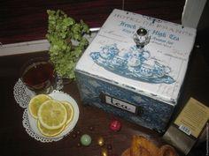 """Купить """"Гжель"""" - синий, шкатулка, шкатулка декупаж, чайная шкатулка, чайная коробка, шкатулка чайная"""