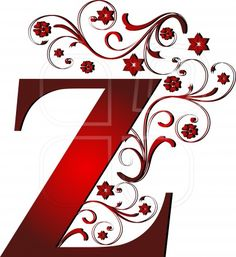 capital letter Z red, abstract, alphabet, alphabetic Alphabet Art, Monogram Alphabet, Alphabet And Numbers, Letter Art, Lettering Design, Hand Lettering, Embroidery Letters, Embroidery Art, Fancy Letters