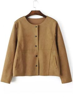 Yellow Round Neck Buttons Crop Coat -SheIn(abaday)