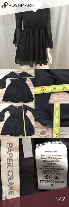 f45d678130 🌠Small Paper Crane Flare Sleeve Tunic Mini Dress Measurements are in  photos. Normal wash