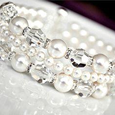 White Pearl Wedding Bracelet Bridal Cuff by somethingjeweled, $89.00  etsy