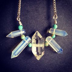 Opalite african turquoise and quartz necklace  by thisthatandthese, $28.00