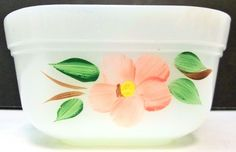 Small Fire King Dish Oven Ware White Painted Pink Flower Blossom Square Bowl #FireKing #Flower #Vintage