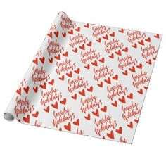 Lovely Holidays | Red Hearts Christmas Wrapping Paper - script gifts template templates diy customize personalize special