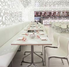 In this restaurant interior the number of elements of decor is minimal: only one backdrop pattern was used – floral patterns made of steel and painted white color. The main goal of the design team was to create an atmosphere of tranquility right at the center of busy and overstimulating Las Vegas Incredible delicate shadows from the patterned walls and ceiling are falling onto the tables, chairs and pale flooring finishing the overall dreamy feel of this incredible restaurant. This interior…