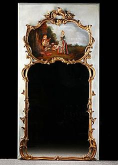 French Antique Louis XV style Trumeau Mirror with Oil on Canvas Painting in Carved Gilt Frame
