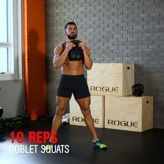20-MINUTE KETTLEBELL METCON! This kettlebell workout (you can modify with a dumbbell) from MH fitness director BJ Gaddour (@bjgaddour) will change your life. Do 20 swings, 10 goblet squats, and 5 single-arm overhead presses on each side. That's 1 round. Do max rounds for time in 20 minutes. Once you can get 10 rounds done in 20 minutes, increase weight.