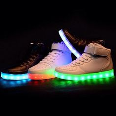 Style:light up shoes,harajuku shoes,flashing sneakers,fly shoes Material:high quality man made leather Color:white,black Size here: B(M) US D(M) US Men = EU size 35 = Shoes length Fi Cute Shoes, Me Too Shoes, Glow Shoes, Light Up Shoes, Converse, Shoe Game, Swagg, Sneakers, Casual Shoes