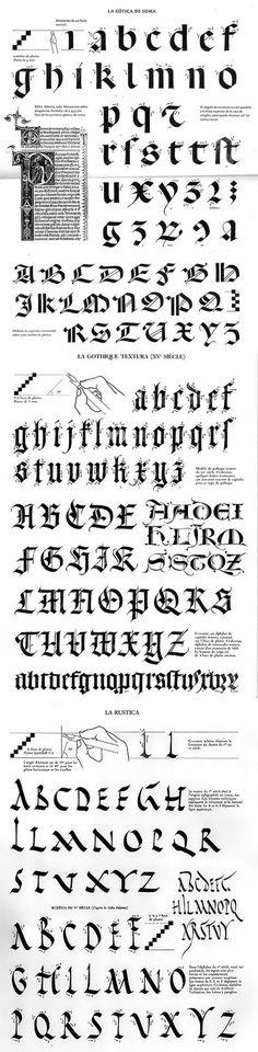 Medieval Style Calligraphy     http://indexgrafik.fr/claude-mediavilla-calligraphie/: