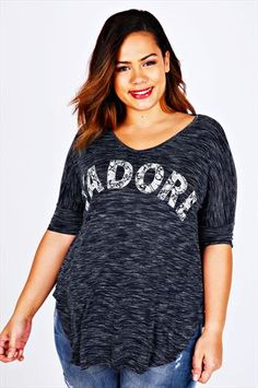 Navy Space Dyed J'adore Print Slouchy Top With Curved Hem