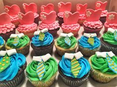 """Gender reveal party cupcakes. Theme was """"Ties or Tutus"""""""