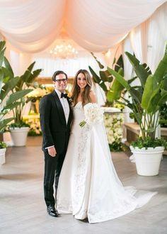 Beverly Hills Bride & Groom Portrait |   Photography: Samuel Lippke Studios. Read More:  http://www.insideweddings.com/weddings/romantic-jewish-wedding-with-lush-ivory-flowers-rose-gold-details/790/