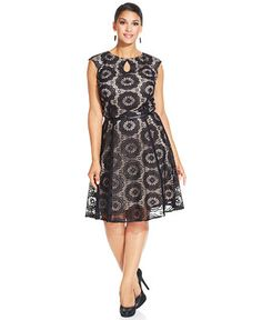 London Times Plus Size Cap-Sleeve Belted Lace Dress - Dresses - Plus Sizes - Macy's
