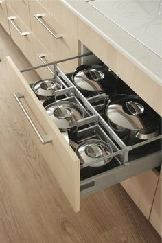 Drawer systems offer interchangeable rails for maximum organization. The possibilities for drawer styles and accessories are boundless these days. They're like jewelry for your drawers.
