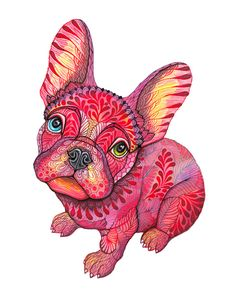 Raspberry frenchie Stretched Canvas