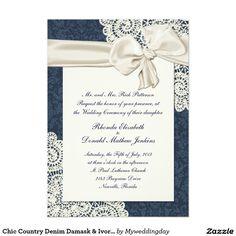 Chic Country Denim Damask & Ivory Lace Wedding