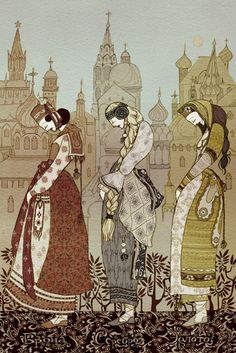 """The Three Kingdoms - Russian Fairy Tale """"Ivashko, sit on the thongs; I will lower you, then you will come to three kingdoms, and in each of them you will see a maiden."""""""